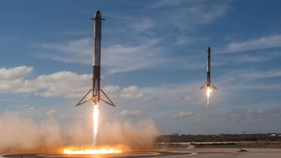 The Two Falcon Heavy Side Boosters Landing