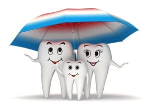 3 smling teeth under an umbrella. The teeth are even happier with dental block scheduling