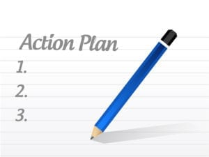 A Note Pad Shows The Word Action Plan. Handling Dental Patients Rescheduling Takes A Great Action Plan.