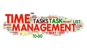 Time Management Concept In A Word Tag Cloud Demonstrates That Great Time Management Is Necessary for Handling Dental Patients Rescheduling Well.