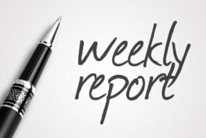"A pen sits next to the words ""Weekly Reports"" representing that patient aging reports should be printed weekly in the dental office."