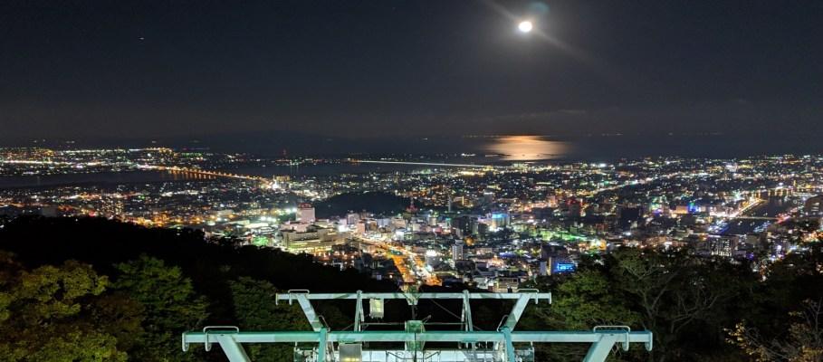 徳島市 眉山公園の夜景ともみじ