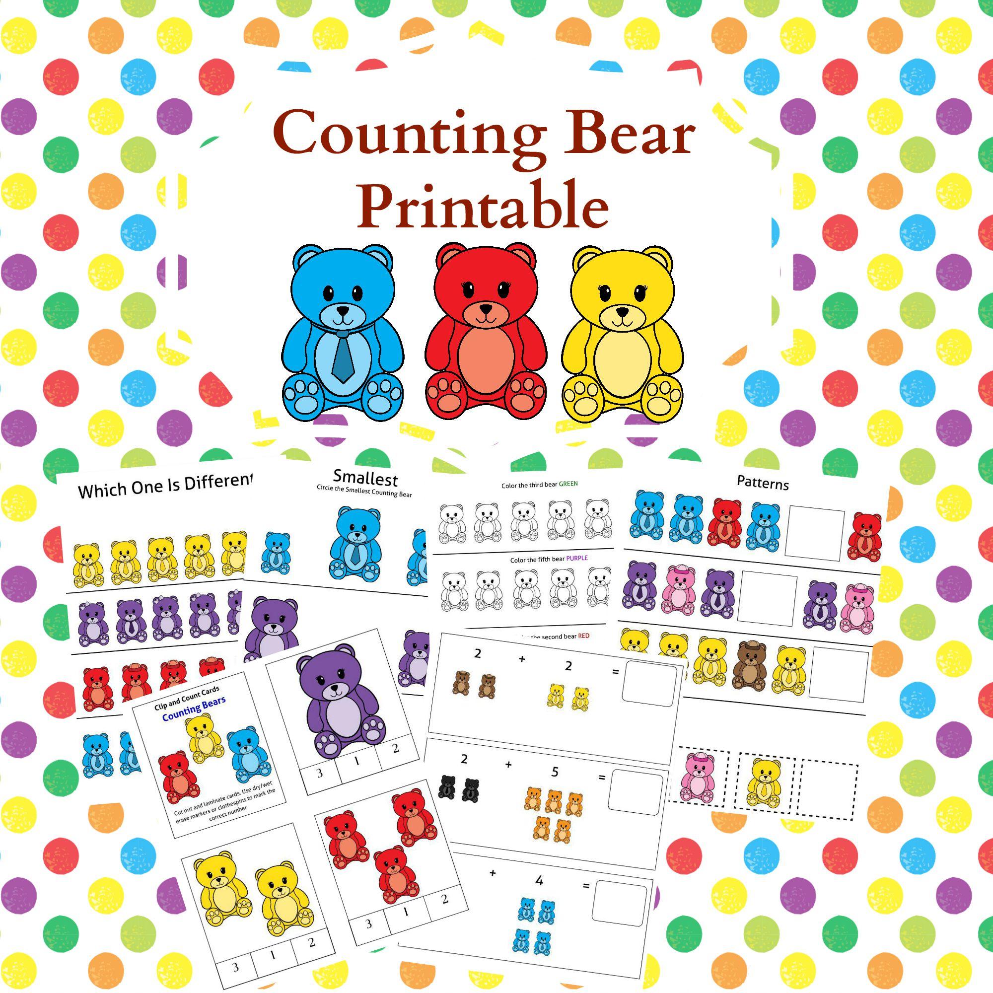 photo regarding Printable Bears Schedule named Counting Bears Printable