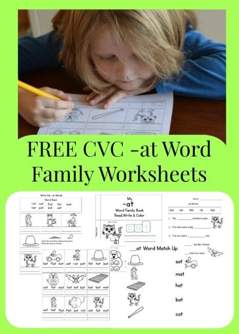 FREE CVC -at Word Family Worksheets