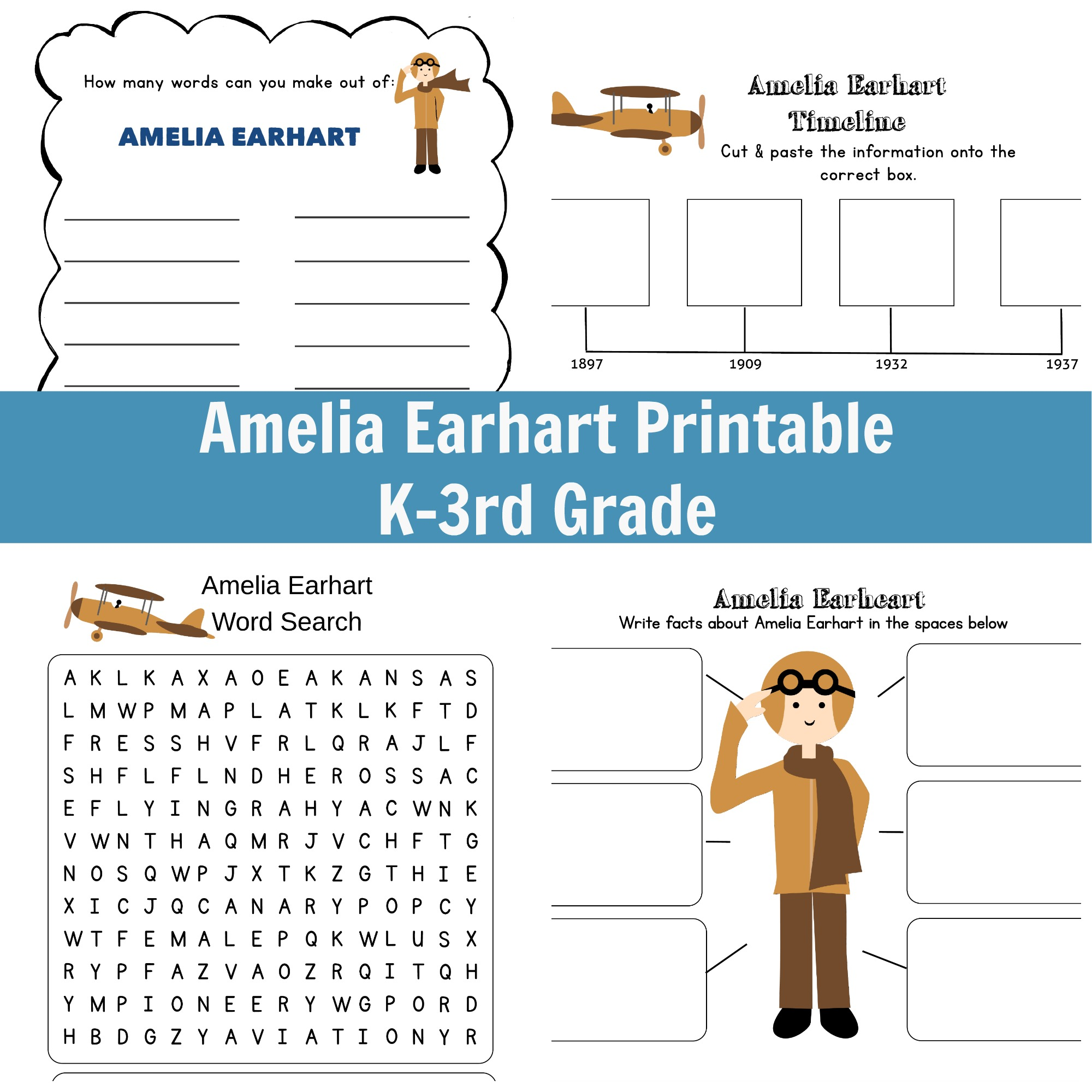 Amelia Earhart Printable