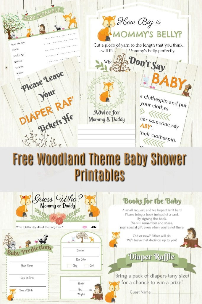 Free Woodland Themed Baby Shower Printables