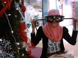 Wearing hero mask from Cape and Fly