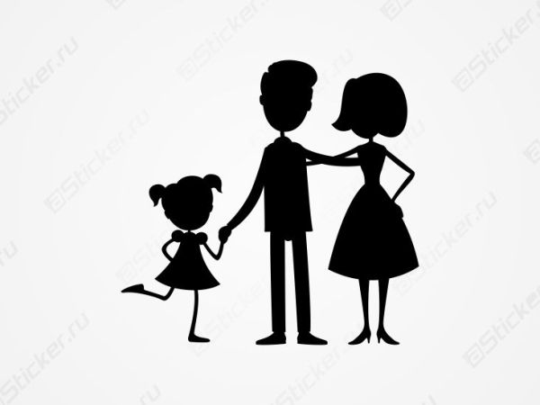 Папа, мама и дочь - наклейка на вто, наклейка на авто ...