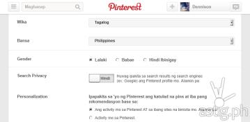 Pinterest Tagalog Filipino language option