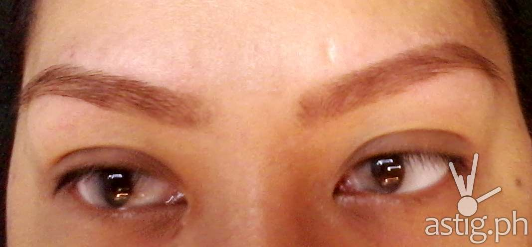 Eyebrows after being dyed with Browhaus ColorTweak