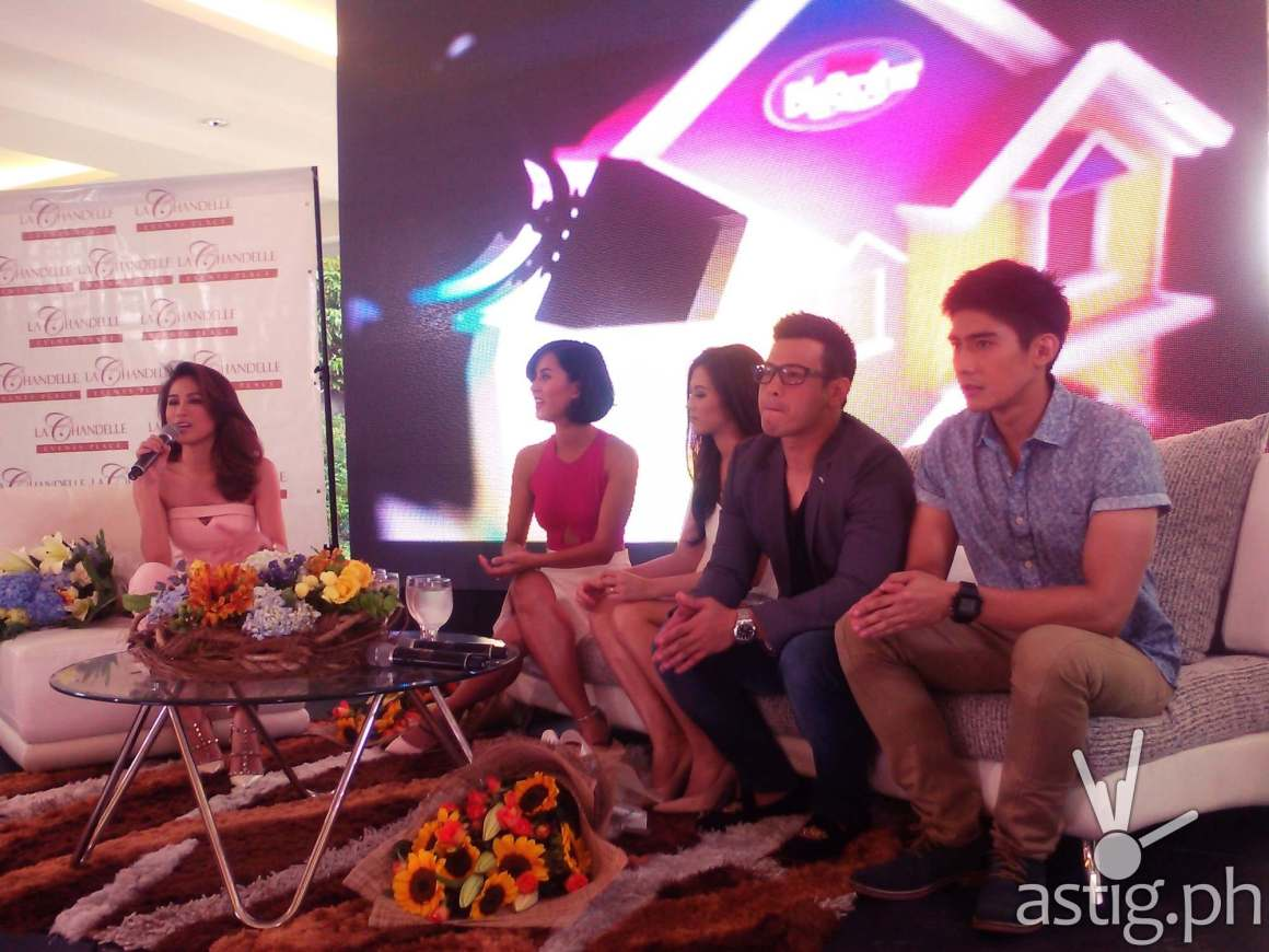 Pinoy Big Brother All In hosts Toni Gonzaga, Bianca Gonzales, Alex Gonzaga, John Prats, and Robi Domingo