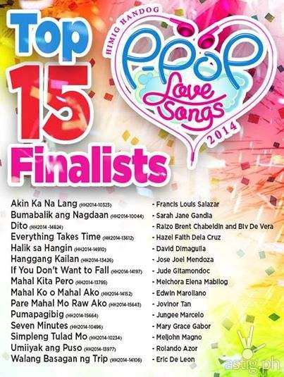 "The 15 finalist songs of ""Himig Handog Pinoy P-POP Love Songs 2014"""