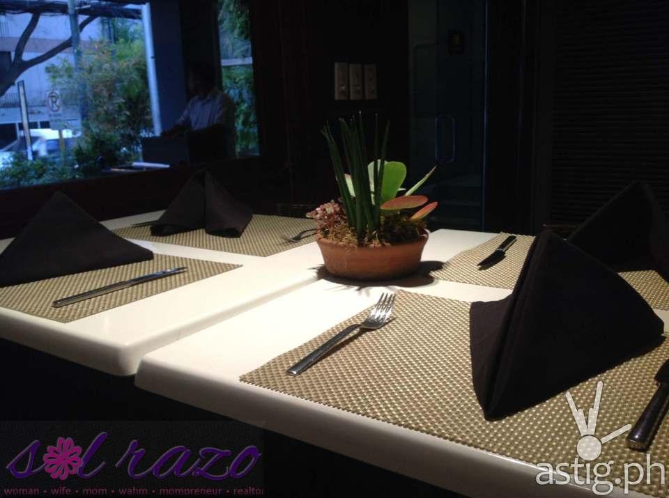 The black table napkins