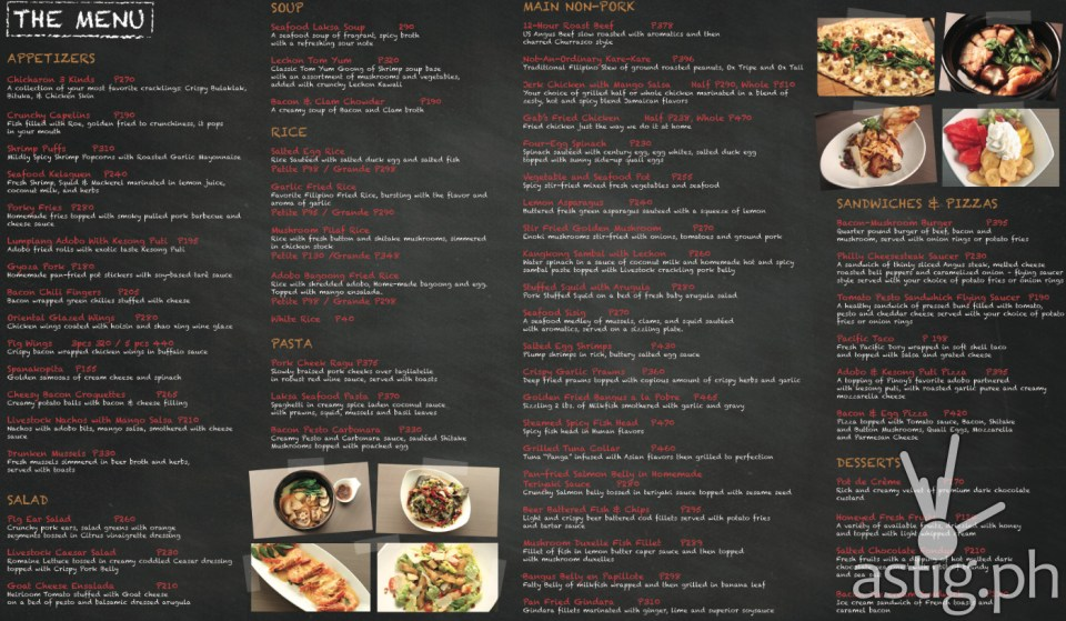 Livestock Restaurant & Bar menu with price