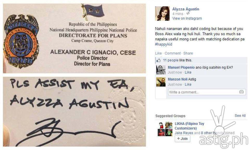 Alyzza Agustin's Facebook post showing a business card from PNP Director Alexander Ignacio