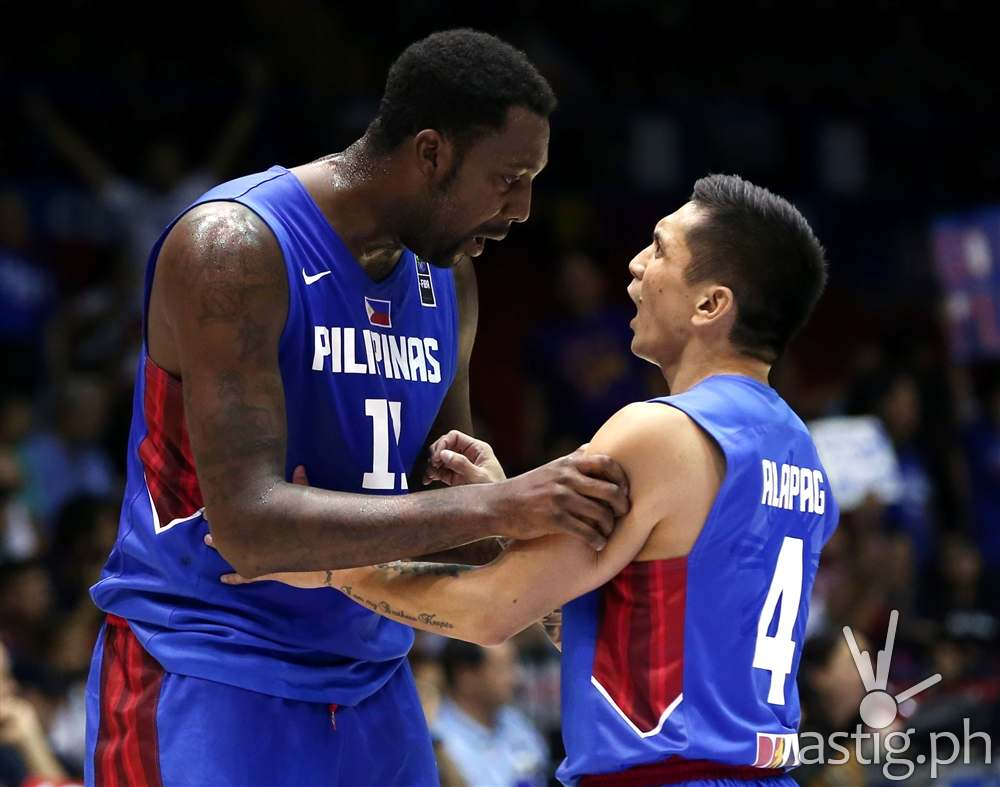 David and Goliath: Andray Blatche & Jimmy Alapag at the Gilas vs Senegal game 2014 FIBA Basketball World Cup (photo: FIBA.COM)