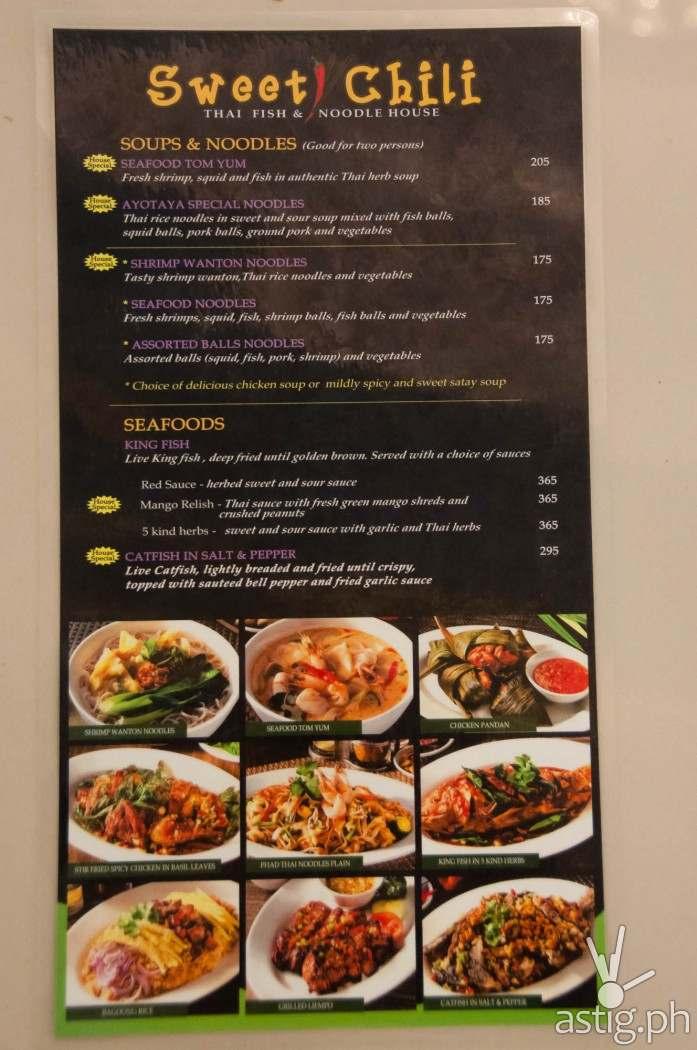 Sweet Chili menu with price