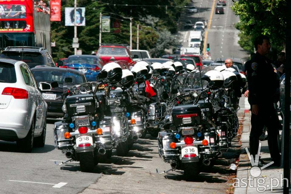 Philippine President Noynoy Aquino is escorted by at a massive police escort during his visit to San Francisco