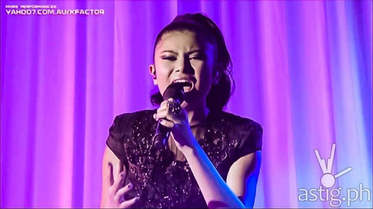 Marlisa Punzalan from the Philippines performs her rendition of the Beatles song Yesterday at the X-Factor Australia grand finals