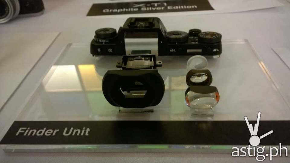 A closer look at the finder unit of the Fujifilm X-T1 mirrorless camera