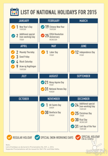 Philippines official public holidays 2015