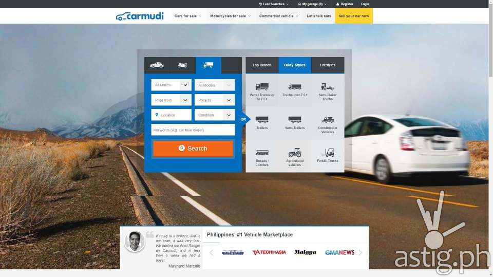 The new Carmudi Philippines website offers a more focused user experience, allowing users to buy or sell cars in just two minutes