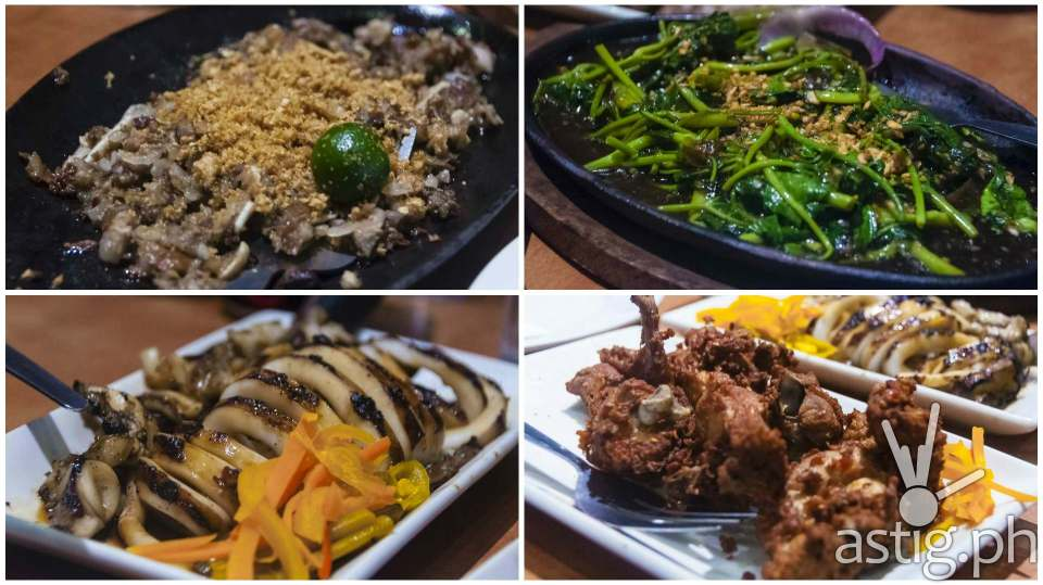 Dinner highlights (from top-left): sizzling pork sisig (198 PHP), sizzling kangkong (155 PHP), grilled squid (355 PHP), and spicy garlic fried chicken (255 PHP)