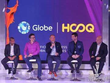 Globe executives at the official launching event of HOOQ in the Philippines [L-R] Warner Bros. Digital Distribution Vice President for Business Strategy Anuraj Shavantha Goonetilleke, HOOQ CEO Peter Bithos, Globe Telecom President and CEO Ernest Cu, Globe Telecom Senior Advisor for Consumer Business Dan Horan and Sony Pictures Executive Vice President for Networks George Chung-Chi Chien