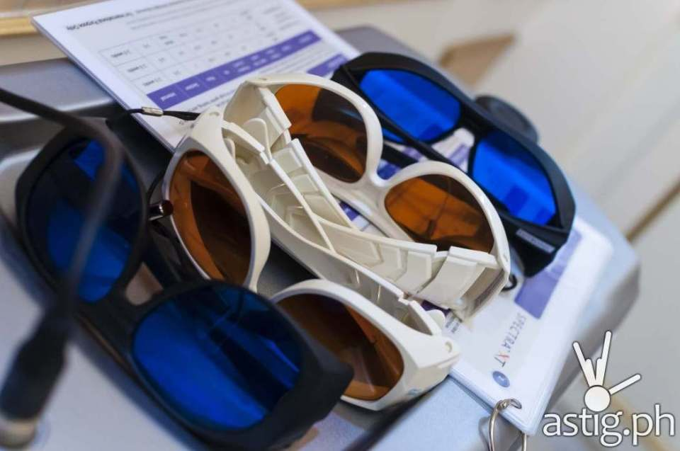 Dr. Kaycee Reyes specializes in laser surgery - here are some of the protective eyewear that they use at Luminisce