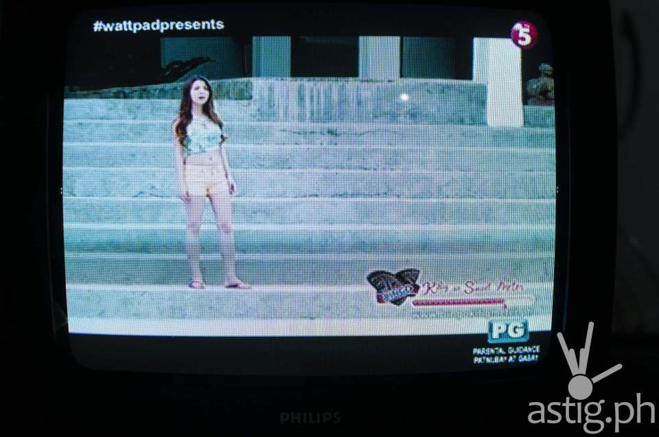 TV5 digital broadcast on ABS-CBN TVplus connected to a Panasonic SD (non-HD) analog television via RCA A/V connection