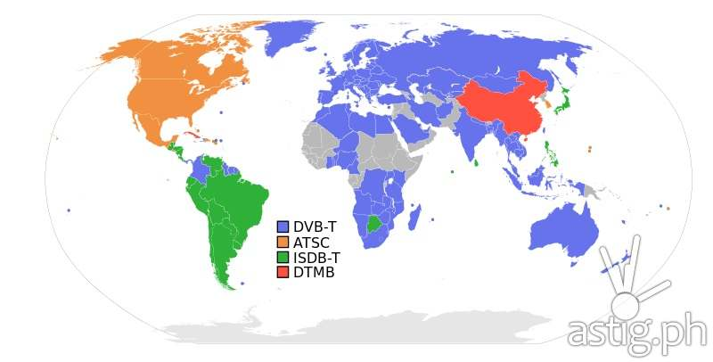 Digital terrestrial television broadcast standards around the world (source Wikipedia)