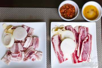 Raw Samgyeopsal (pork belly) and Woomamgyeop (beef belly) at Leann's Tea House