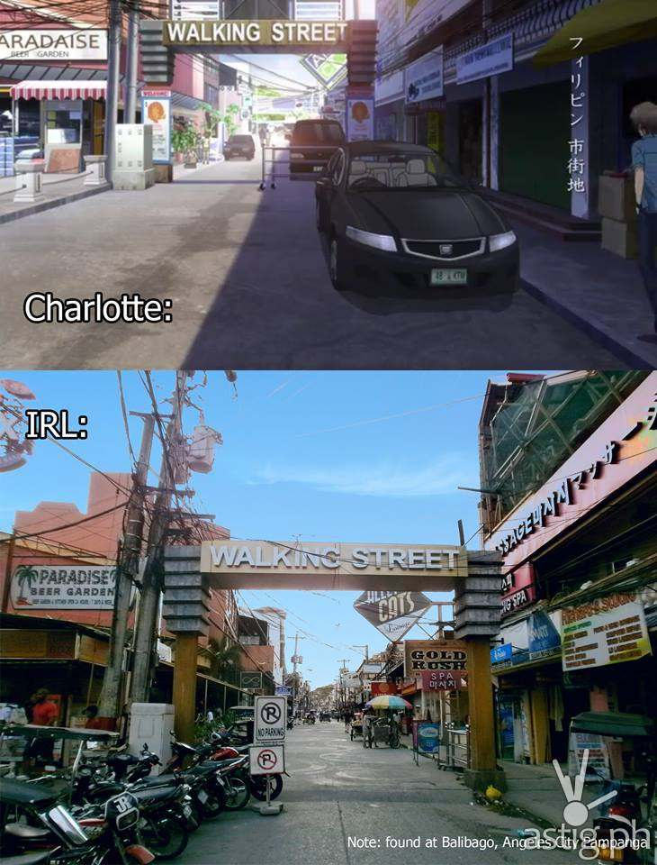 Charlotte Episode 13 rendering vs real-life Walking Street in Balibago Angeles City Pampanga