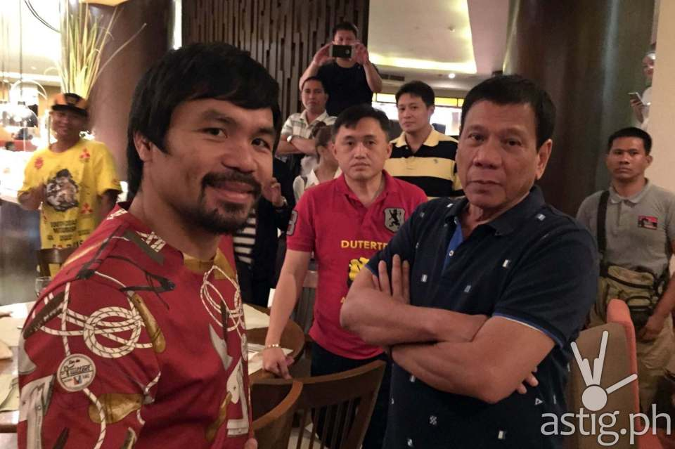 Rodrigo Duterte with Manny Pacquiao (source: Rody Duterte on Facebook