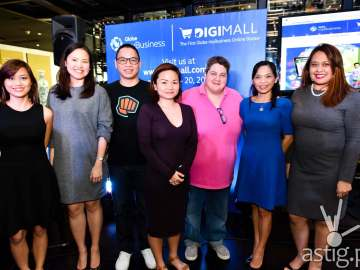 Globe myBusiness announced the first ever online bazaar featuring over 25 Filipino Shopify merchants. Some of the Shopify merchants also joined the launch with a preview of their sample products for everyone to enjoy. At the launch were (From L-R) Globe myBusiness Solutions Expert Dani Gil, Head of Retail Solutions Stephanie Chua, Shopify Merchants: YouPoundIt's Kristian Salvo, Renegade Folk's Regina Sambalino and Cake Shots' Patricia Blardony, Globe myBusiness VP for Marketing Barbie Dapul and Globe myBusiness VP for Digital and Customer Experience Debbie Obias