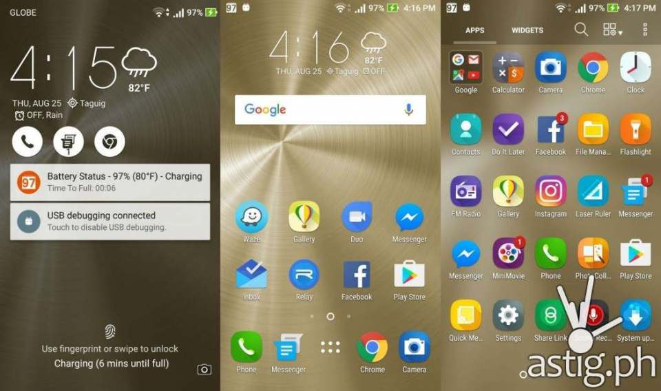 ASUS ZenFone 3 ZenUI interface - lock screen, home screen, and app drawer