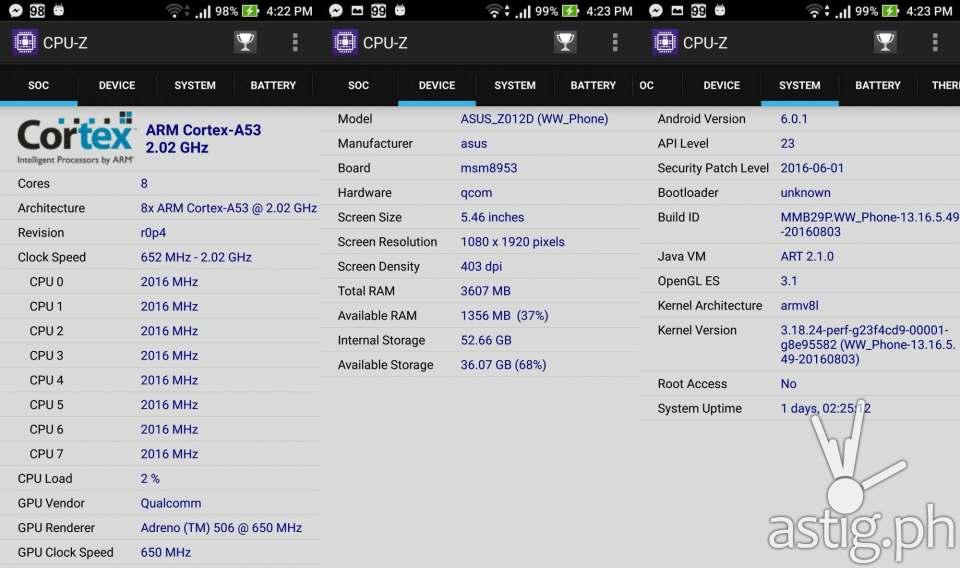 ASUS ZenFone 3 hardware info via CPU-Z