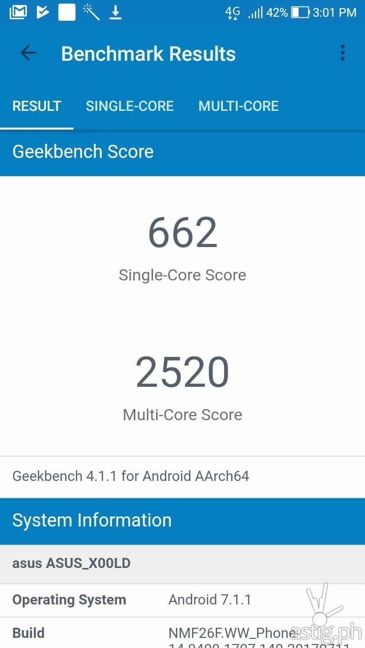CPU benchmark results (Geekbench) - ASUS Zenfone 4 Selfie