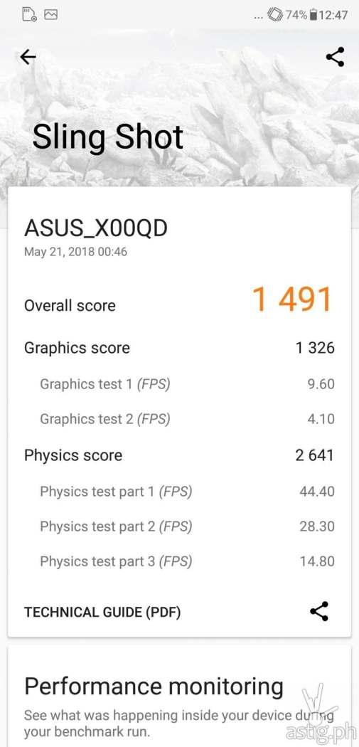 Zenfone 5 graphics test results - 3DMark Sling Shot details