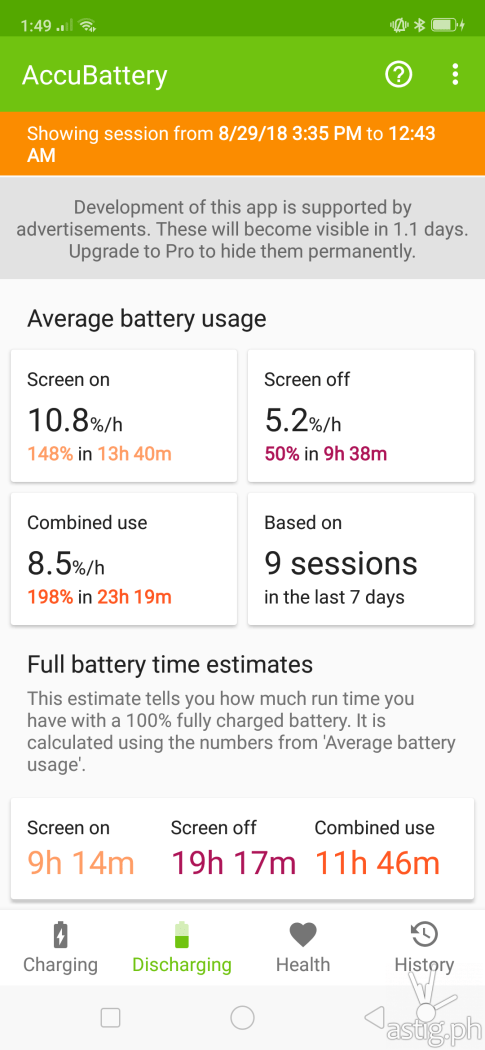 AccuBattery battery life usage estimates - OPPO F9