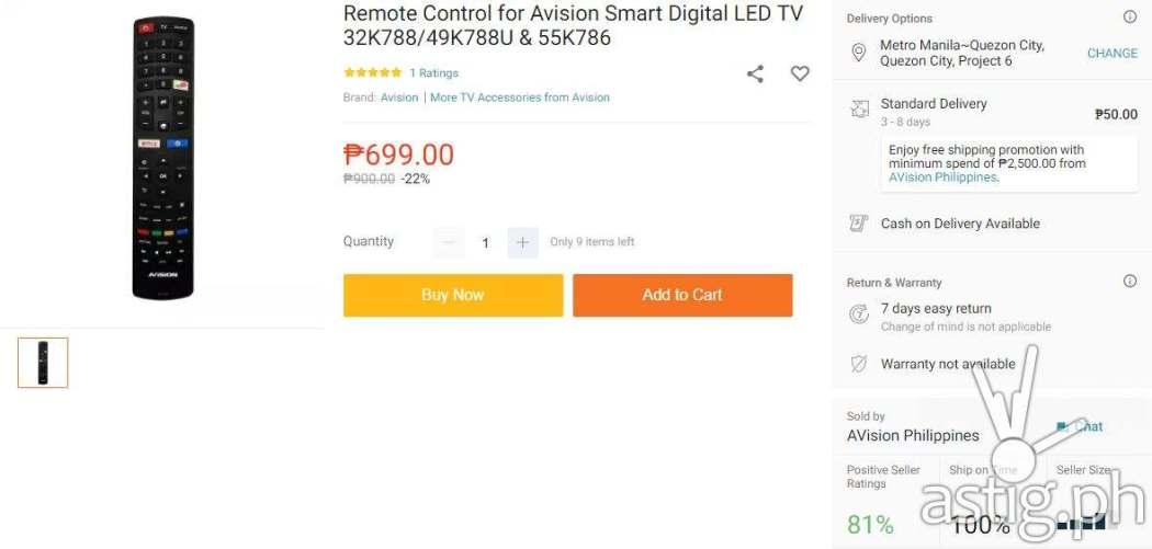 Avision Smart Digital LED TV remote control