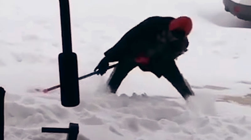 Guy Falling for 9 Seconds While Trying to Shovel Snow