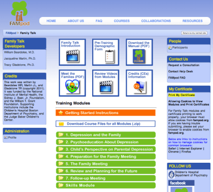 Family Talk course interface
