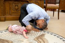 """June 4, 2015 """"At the President's insistence, Deputy National Security Advisor Ben Rhodes brought his daughter Ella by for a visit. As she was crawling around the Oval Office, the President got down on his hands and knees to look her in the eye."""" (Official White House Photo by Pete Souza) This official White House photograph is being made available only for publication by news organizations and/or for personal use printing by the subject(s) of the photograph. The photograph may not be manipulated in any way and may not be used in commercial or political materials, advertisements, emails, products, promotions that in any way suggests approval or endorsement of the President, the First Family, or the White House."""