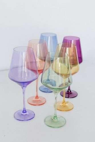 Estelle Colored Wine Stem Set Black Owned Gift Guide