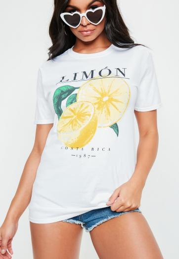 White Limon Washed Graphic T-Shirt