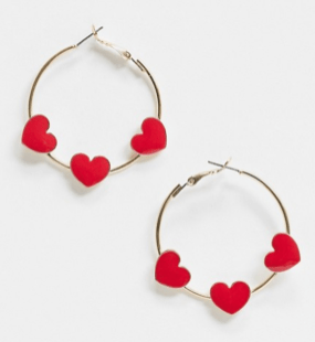 ASOS DESIGN hoop earrings with red love hearts in gold tone ASOS