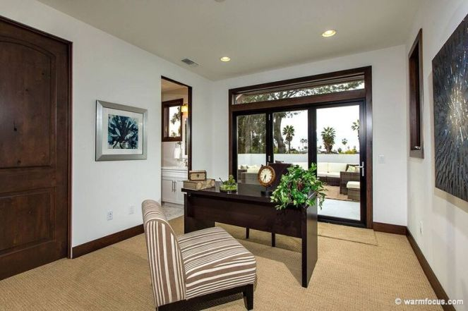 Office staging with brown and white accents