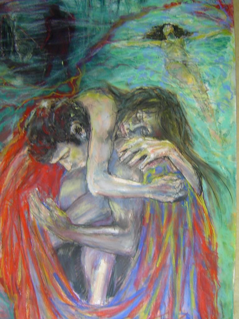 Aphrodite & Adonis, pastel op canvaspapier, 120 x 70 cm