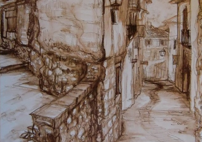 Marbella, Old Town,Sepia's (gemengde techniek), 52 x 36, 2010